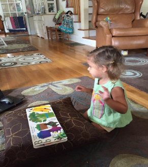 """Lanie and the book """"Eating the Alphabet"""""""