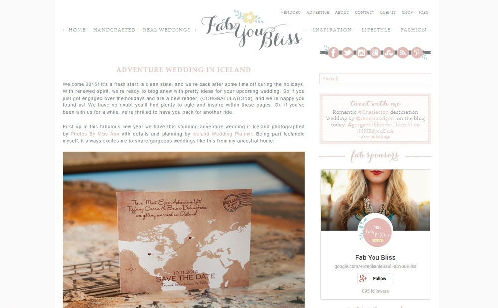 Iceland Wedding Featured on Fab You Bliss