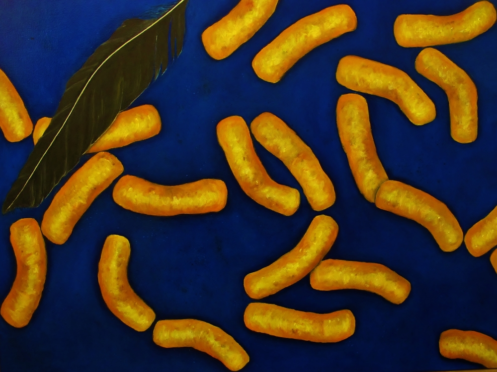 Flying Cheetos , 2014 Oil on canvas, 36 x 48 inches