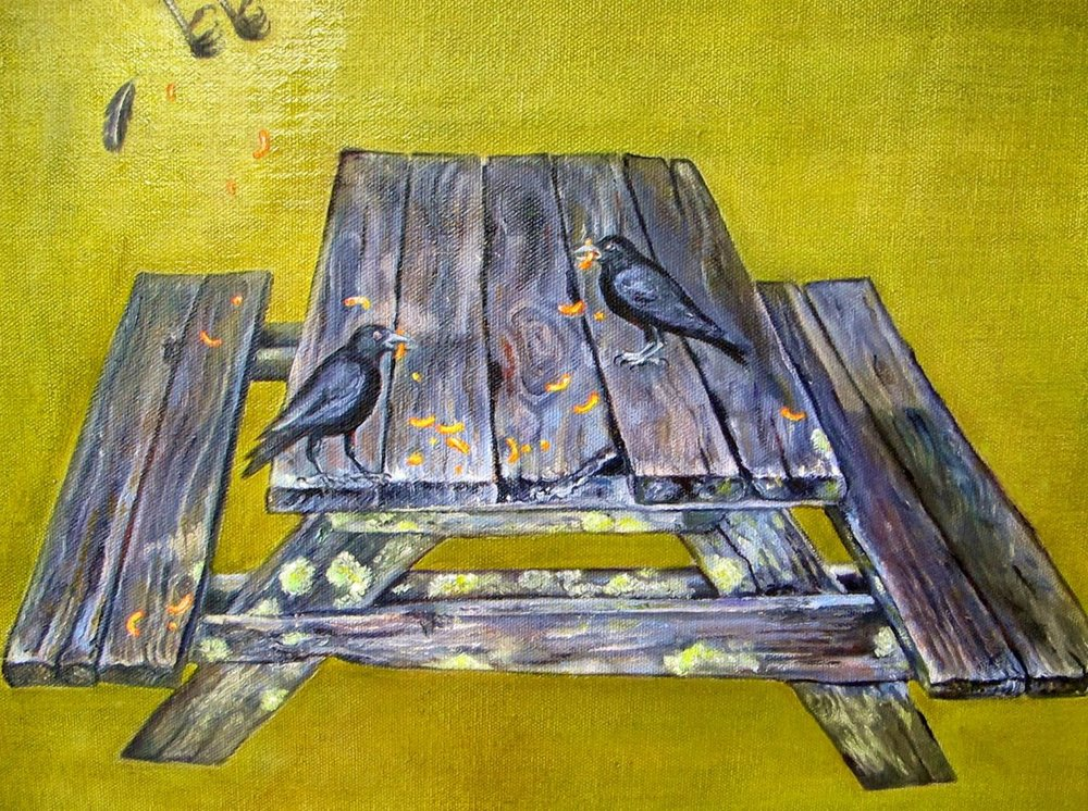 Picnic Crows , 2013 Oil on canvas, 12 x 16 inches