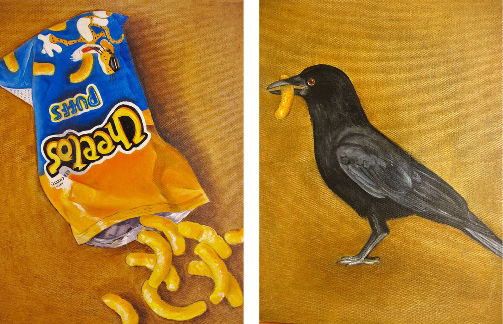 Real Cheese Diptych , 2012 Oil on canvas, 14 x 11 inches (each)