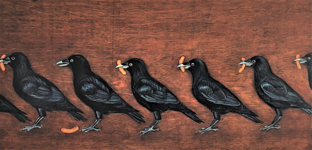 The Lock Step March of the Cheeto Lackeys , 2017 Oil on board, 12 x 24 inches