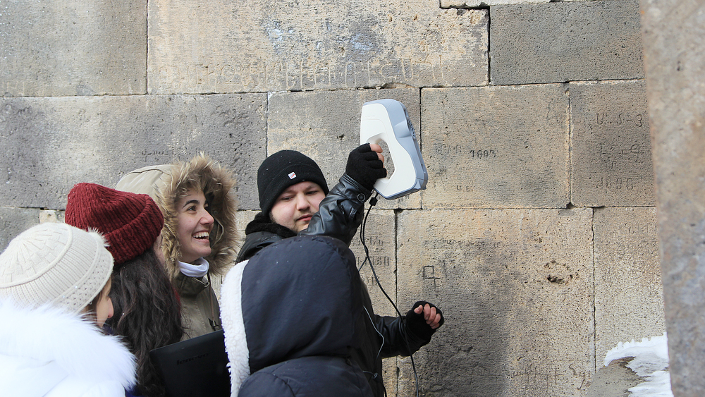 TUMO students used the Artec Eva, a 3D hand scanner, to capture specific features throughout the monastery complex.