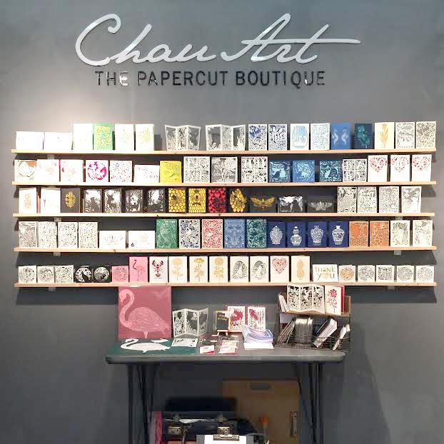 Chau Art trade show greeting card stand