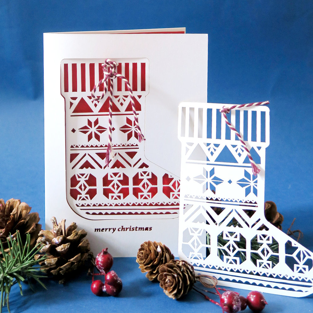 chau art papercut christmas card