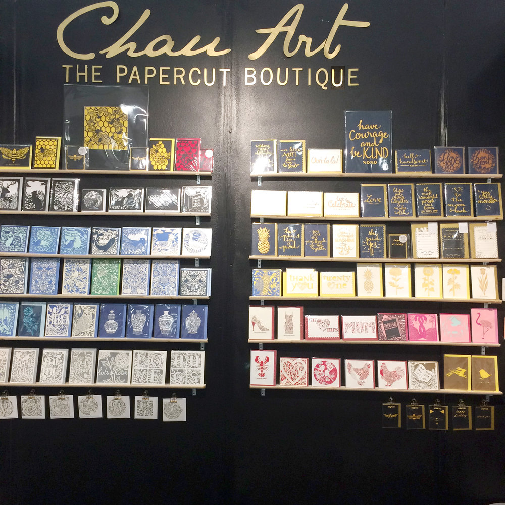 chau art stationer and greeting card trade stand