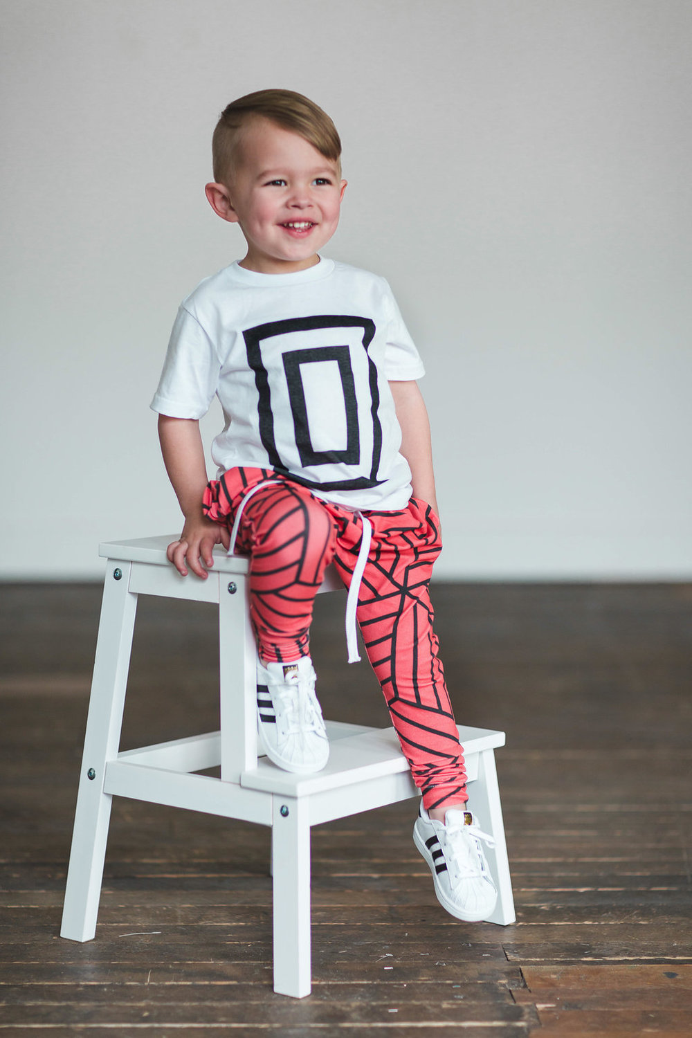Lot801 athleisure baby kids harem pants blood orange