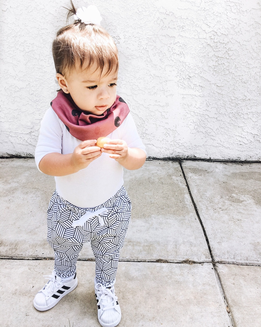 baby / toddler harem leggings and joggers. Maroon circle scarf
