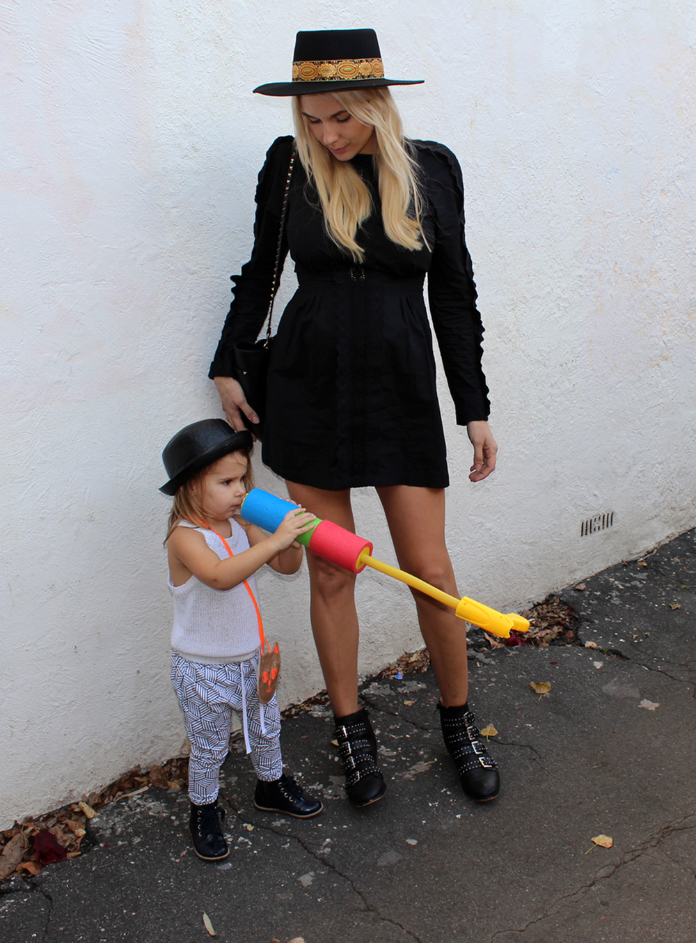 Monochrome Joggers street style. Mommy and me fashion.