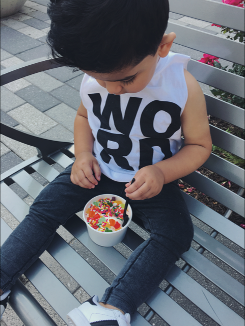 toddler/baby graphic cut off WORD tee