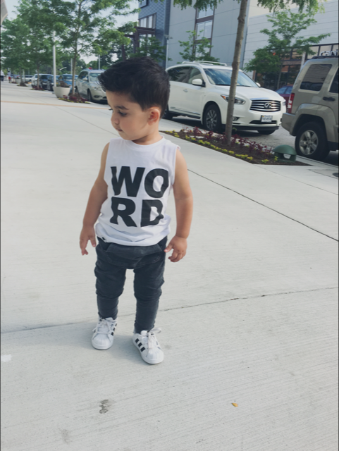 hipster toddler baby graphic cut off WORD tee