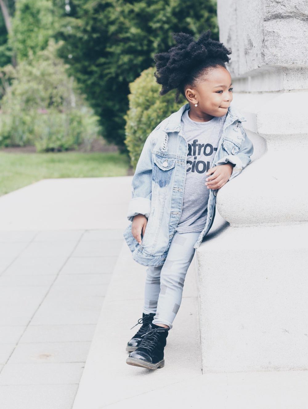 baby toddler blue blocks leggings with jean jacket and black boots
