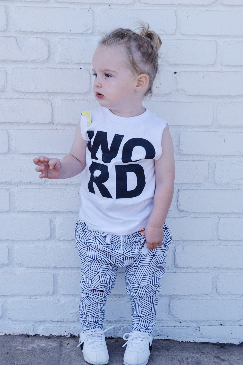 Baby / toddler monochrome joggers and cut off tee