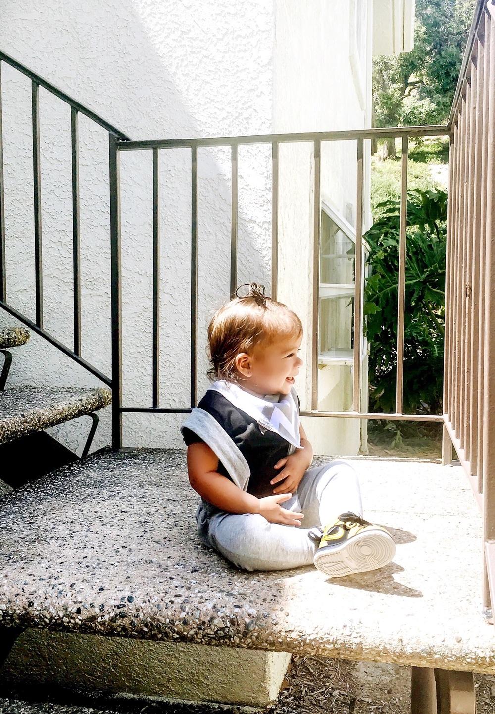 Lot801 light grey suspender joggers for toddler girl