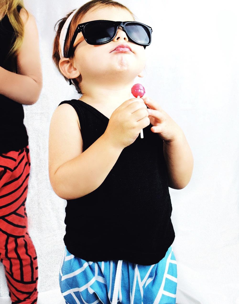 Baby girl harem leggings / joggers in ocean blue and sunglasses
