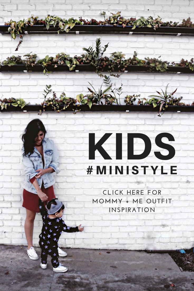 Mommy + me street style inspiration. Lot801 has the best kids wear for the modern mother and babe. Baby boy and baby girl style.