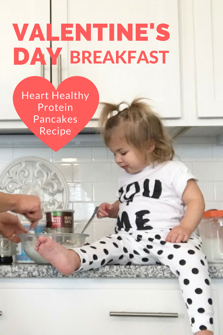 Valentine's Day Breakfast - heart healthy protein pancakes