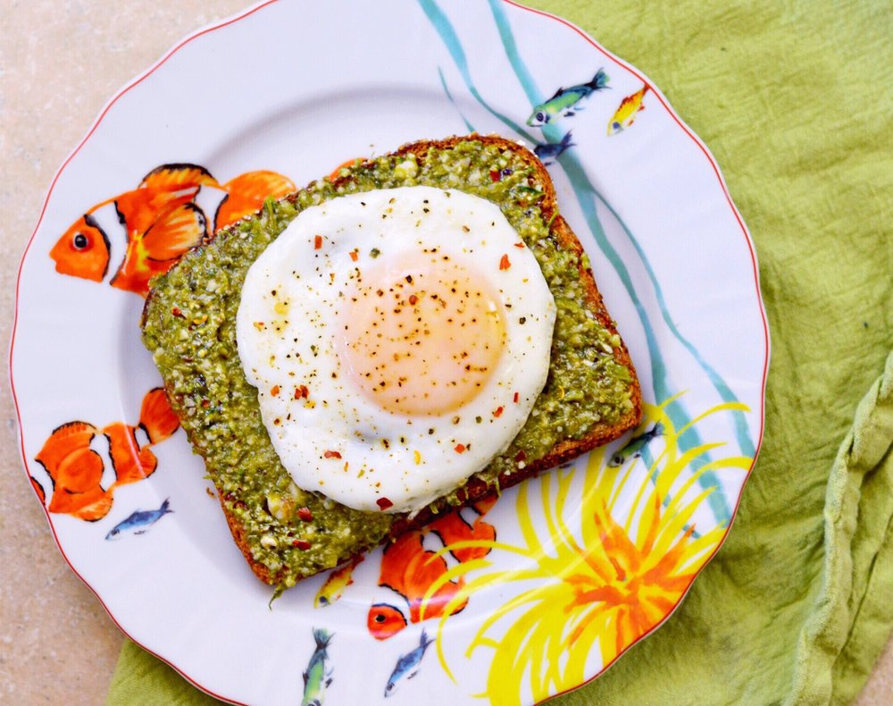 lot801 summer pesto toast with an egg