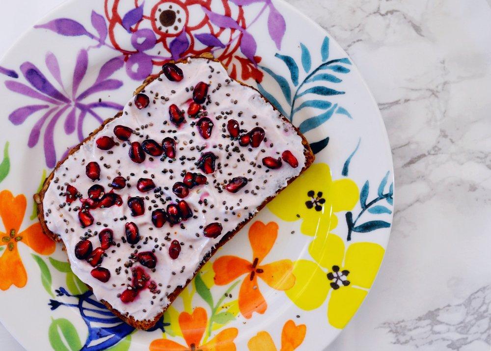 pomegranate yogurt toast recipe