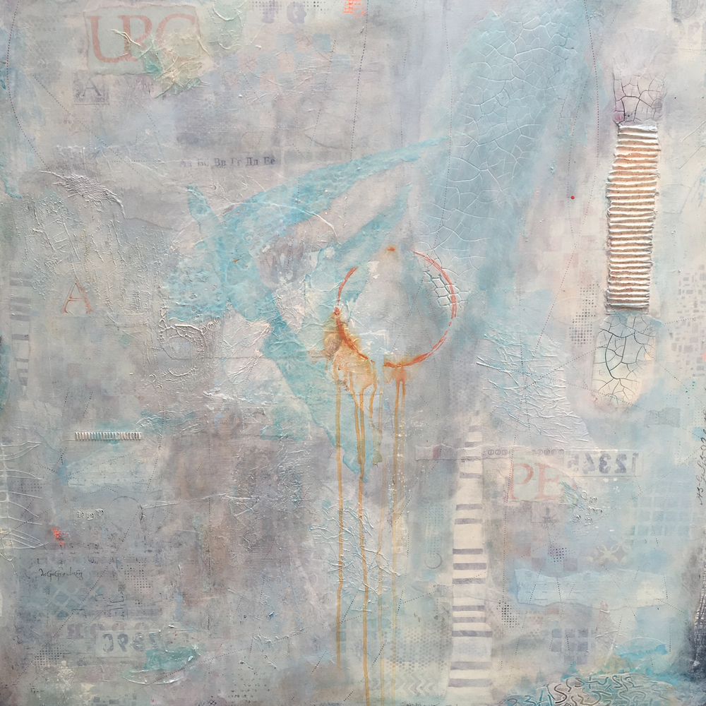 Dream Catcher  I  Mixed Media collage on wood panel  I 36' x 36'  I  $1,750