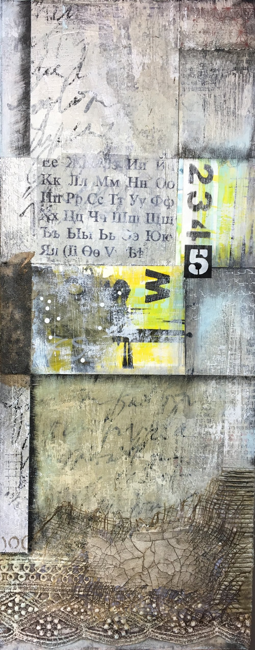 "Nothing Goes to Waste I Mixed media on panel I 10"" x 22"" I $400"