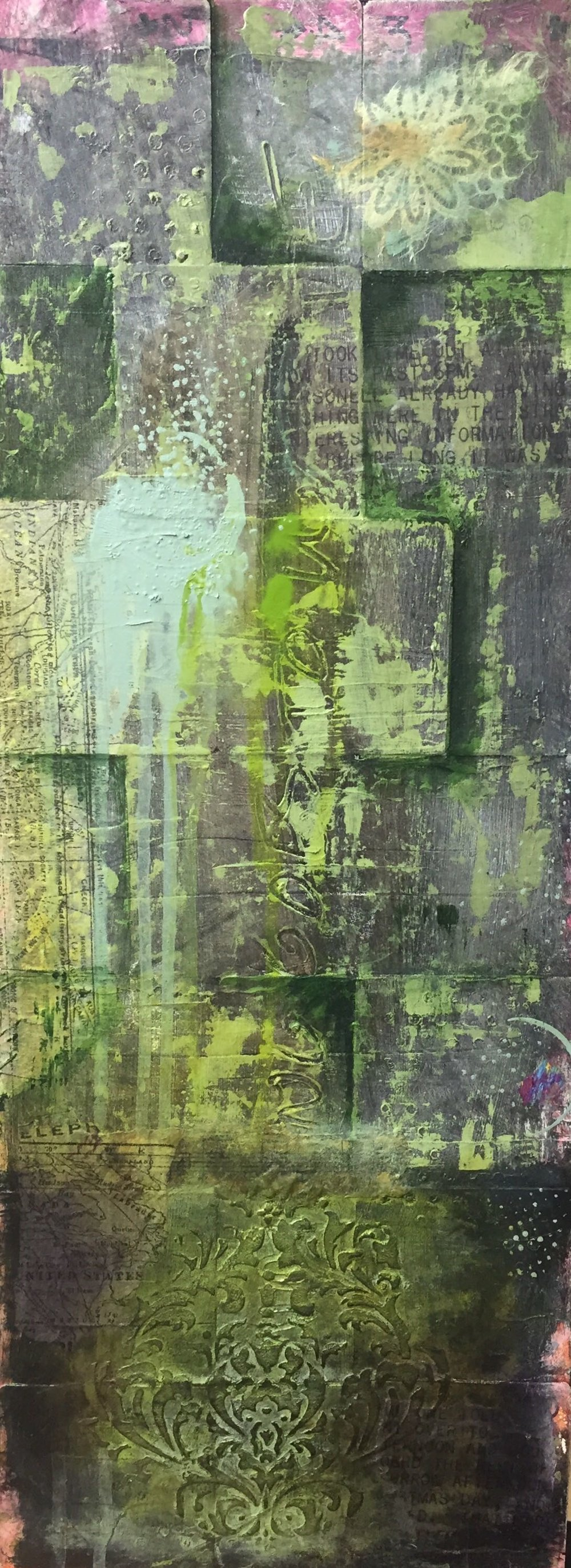 Garden Wall I Mixed Media on panel I 10 x 22 I $400