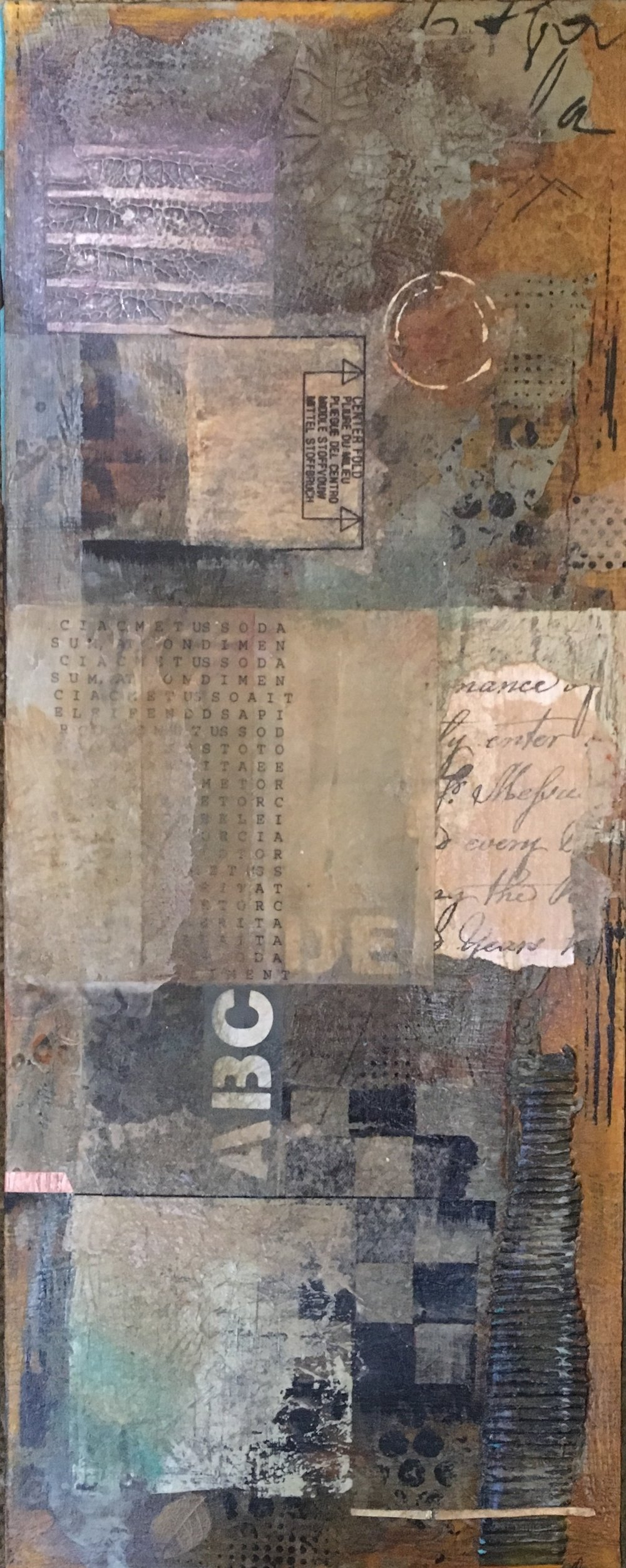 "Market Watch I 10"" x 22"" I Mixed media collage I $400"