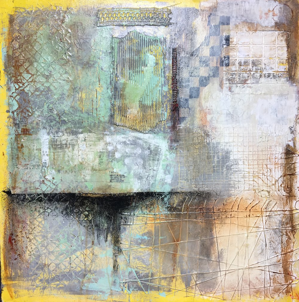 "Green Door 508 I Mixed media on wood panel I 24"" x 24"""
