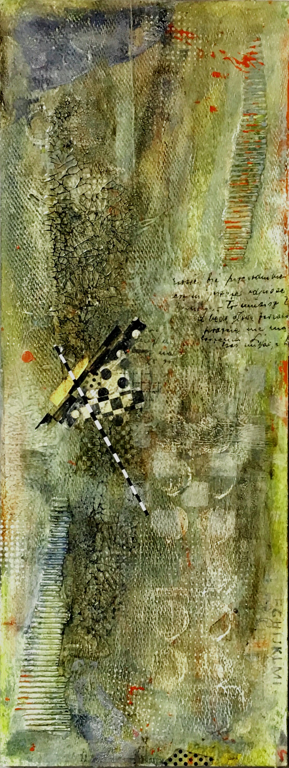 "Perched I 10"" x 22"" I Mixed media on panel I $400"