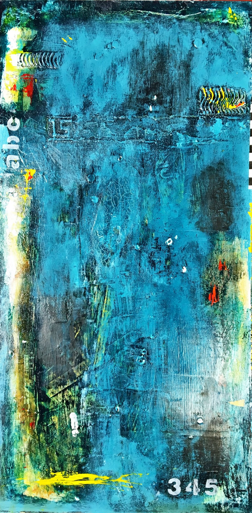 "Blue Wave One I Mixed media on panel I 12"" x 24"" I $500"