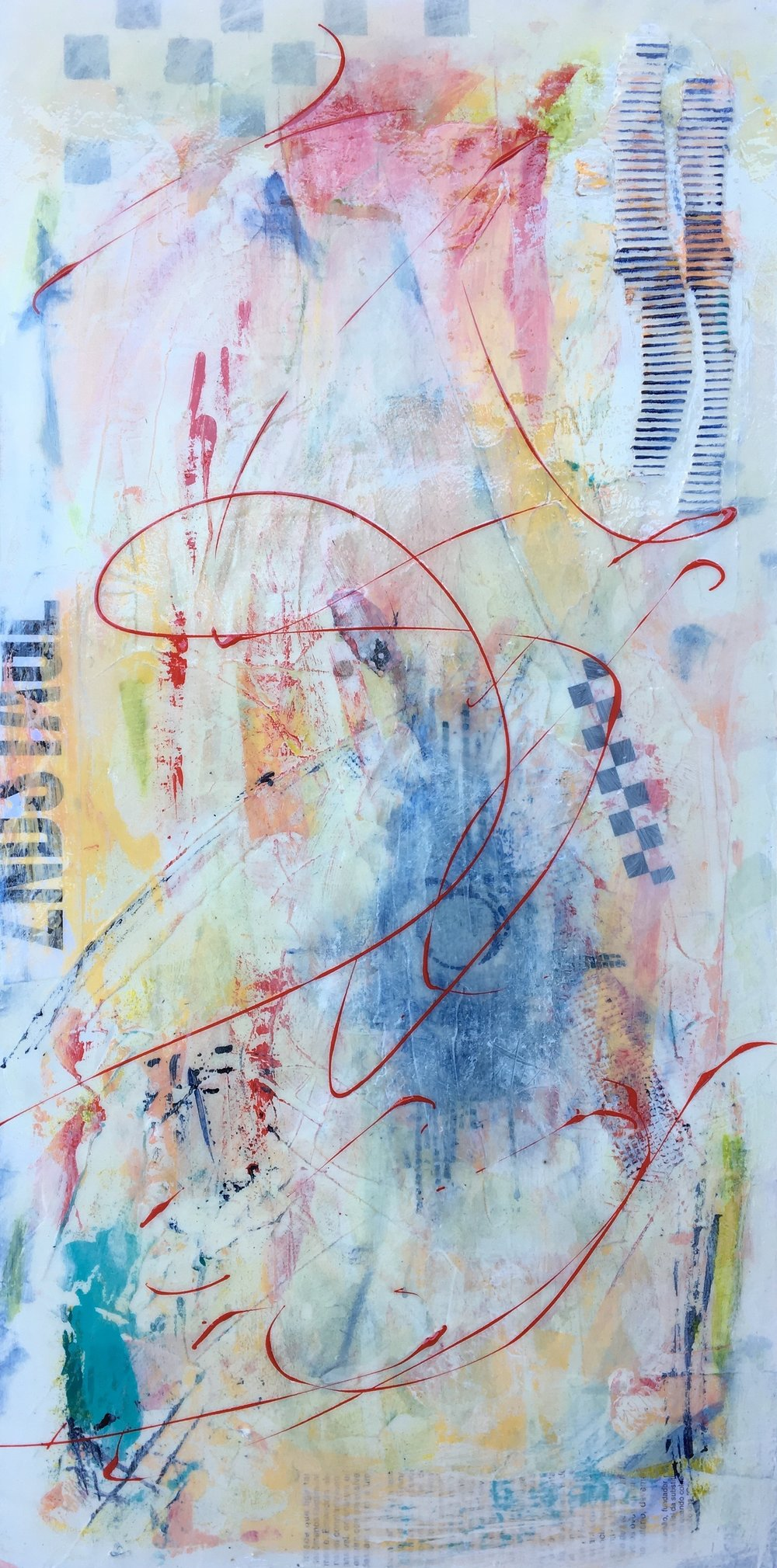 """Second Stage I 12"""" x 24"""" I Mixed media on panel"""