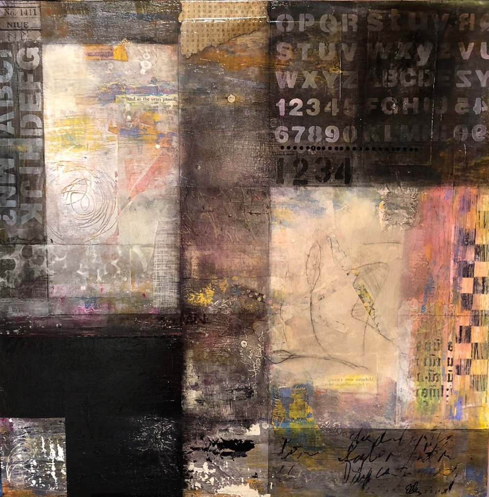 """and so the years passed I 24"""" x 24"""" I mixed media on wood panel I $875"""