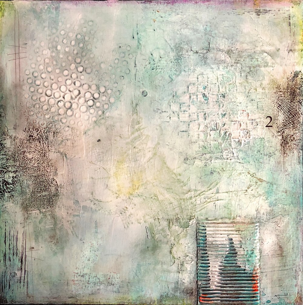 "Twenty 2 I Mixed media on cradled wood panel  I  12"" x 12""  I  $290.00"