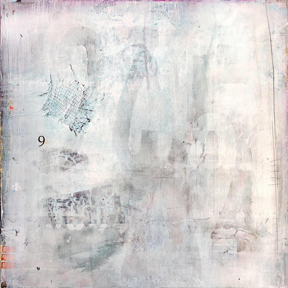 "Submerged I Mixed media on wood panel I 12"" x 12"" I $290"