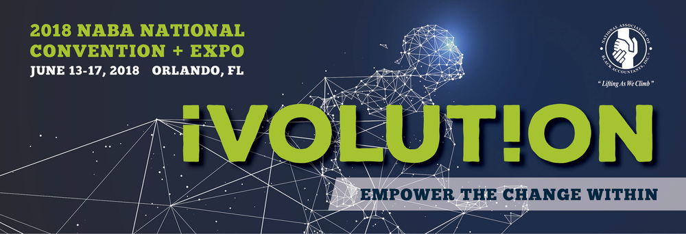 The 2018 NABA National Convention and Expo will take place in Orlando, Florida at the Orlando World Center Marriott from June 13 - 17.   The annual convention brings together over 2,000 members, employers and students for an eventful week of workshops, career expo, CPE cessions and fellowship!   This year's theme is iVOLUTION; Take risks. Leverage resources. Seize control.   As active members of NABA,  most employers will sponsor your attendance to the convention , please contact us at  naba.seattle@live.com  for more information and  click here for more details  on convention schedule, location and registration.