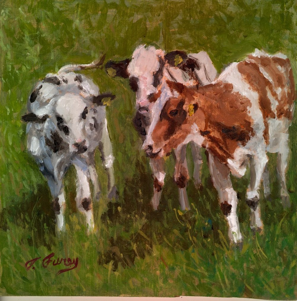 "Three Amigos, 8 x8"", Oil on Board"