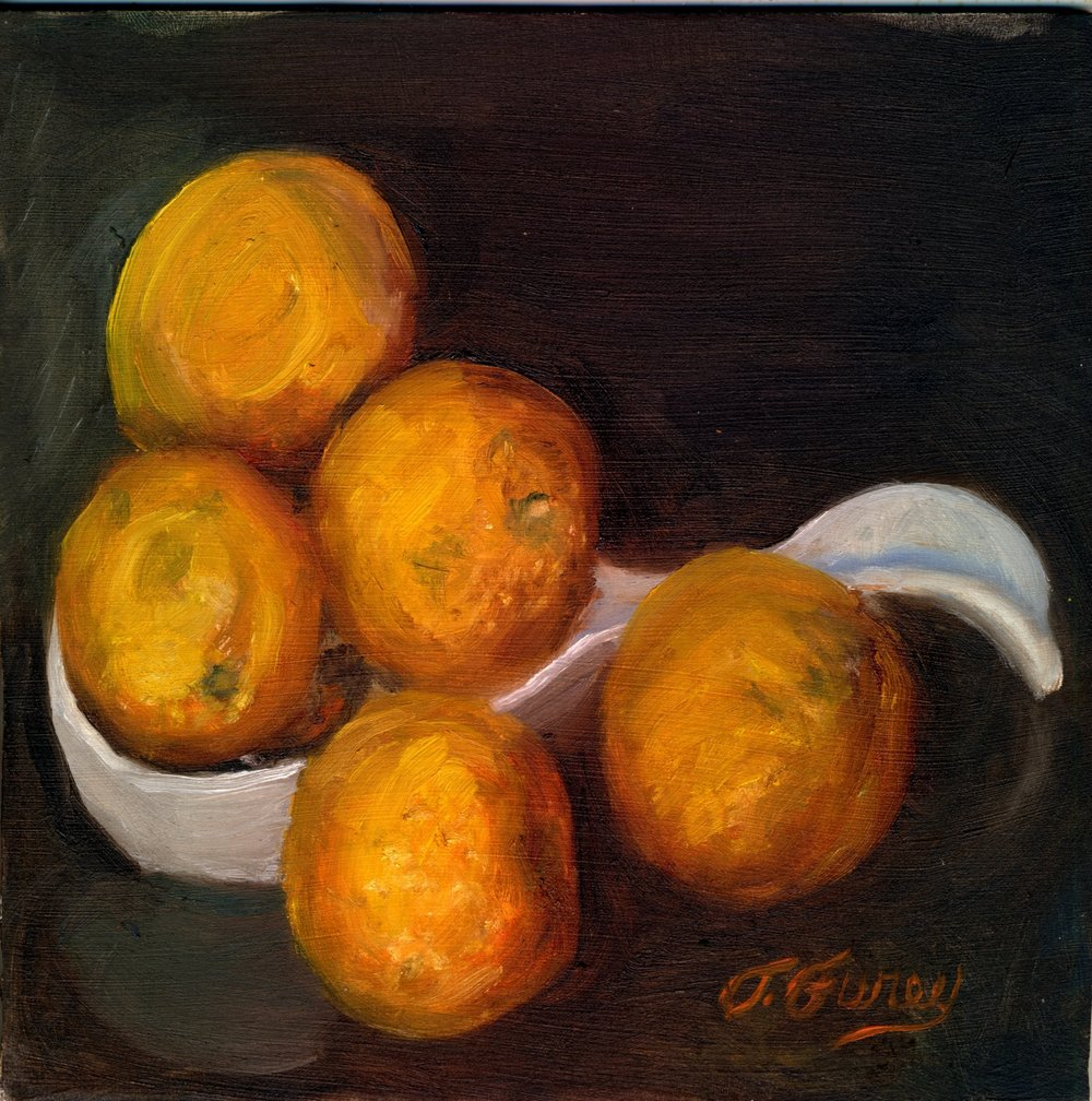 "Five Oranges, 8 x 8"", Oil on Board"