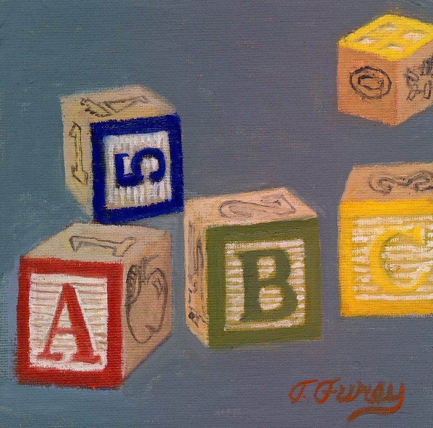 "ABCs, 6 x 6"", Oil on Panel"
