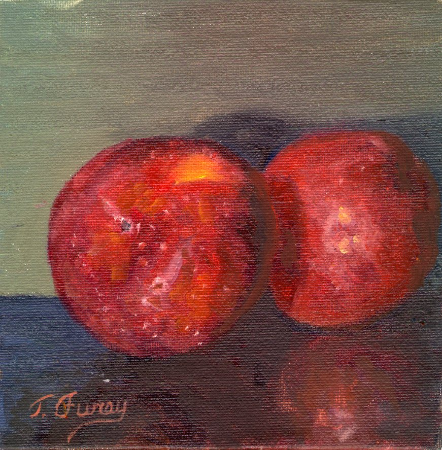 "Two Apples, Alla Prima Oil Painting on Board, 6 x 6""."