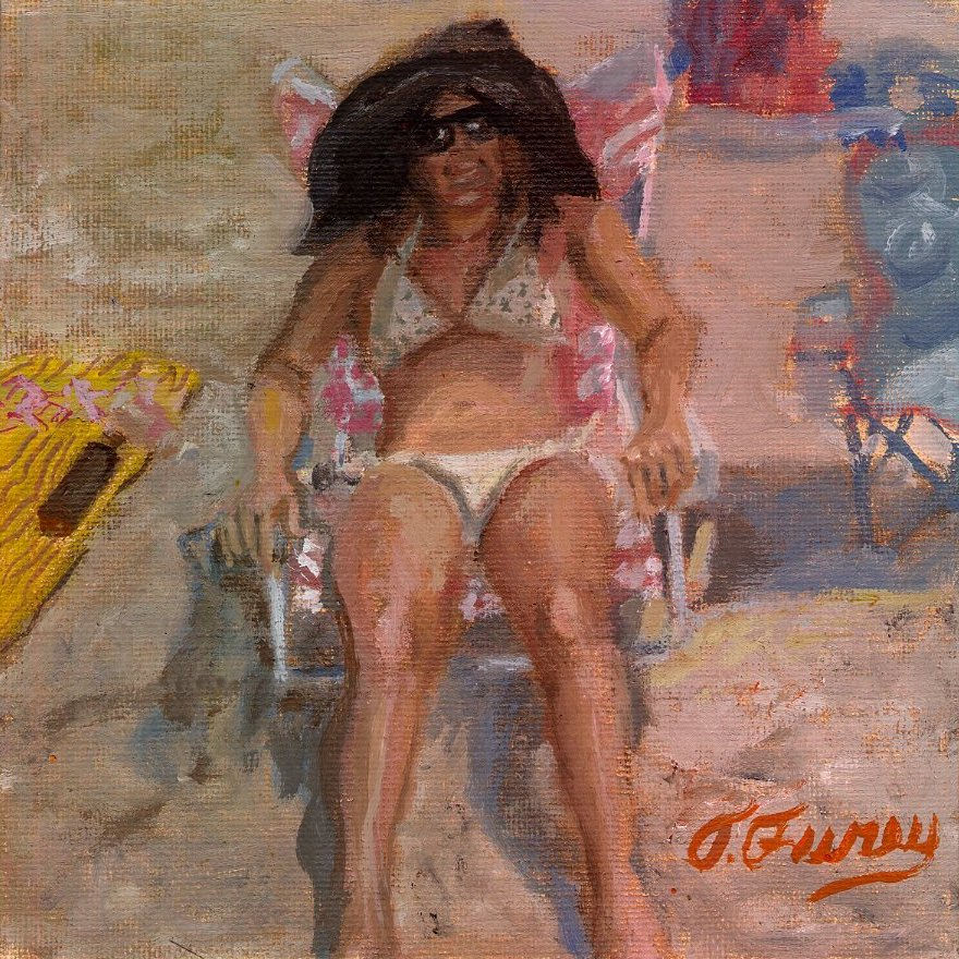 "Jersey Beach Babe, 6 x 6"", Oil on Panel"