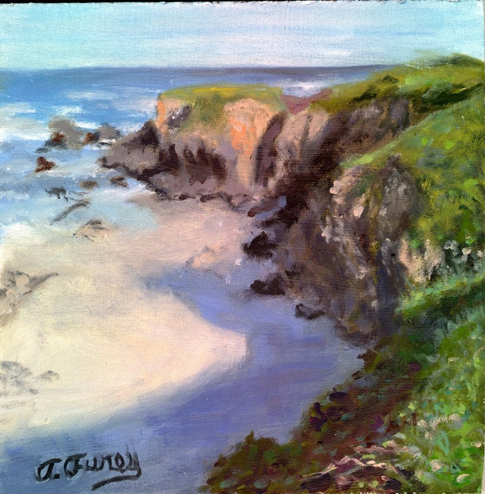 "Coastline Summer, 8 x 8"", Oil on Board"