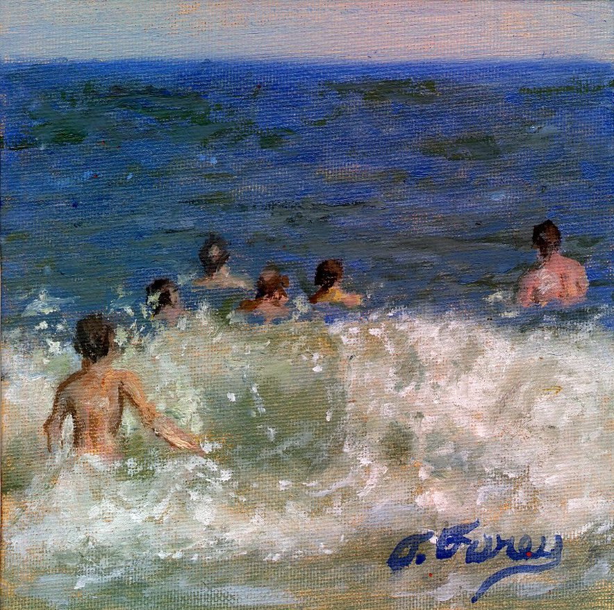 "BIG WAVE, Alla Prima Oil Painting on Panel, 6"" x 6""."