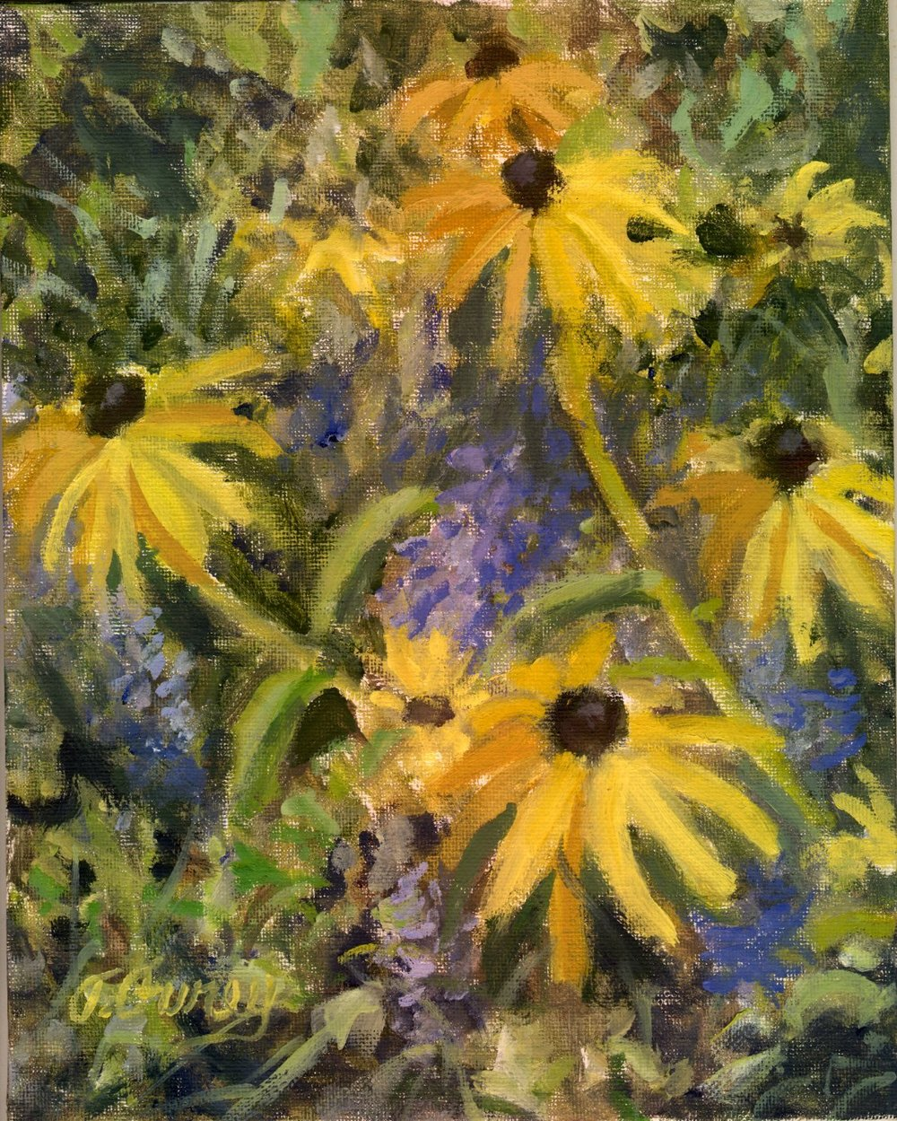 "Garden FLowers"", Alla Prima Oil Painting on Panel, 8"" x 10""."