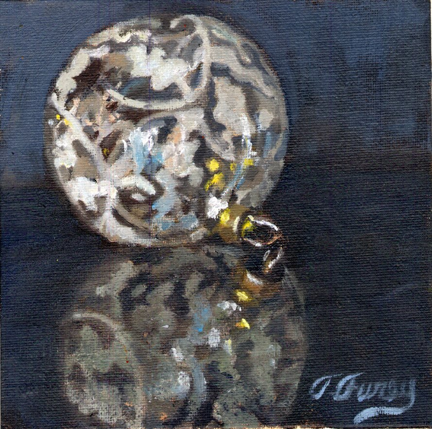 "Christmas Deco 1, Alla Prima Oil Painting on Panel, 6"" x 6"""