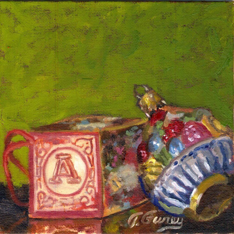 "Christmas Deco 3, Alla Prima Oil Painting on Panel, 6"" x 6""."