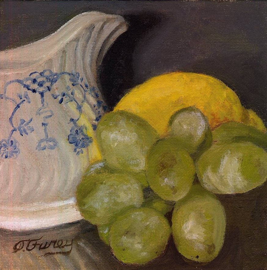 "CREAMER LEMON AND GRAPES, Alla Prima Oil Painting on Board, 6"" x 6""."