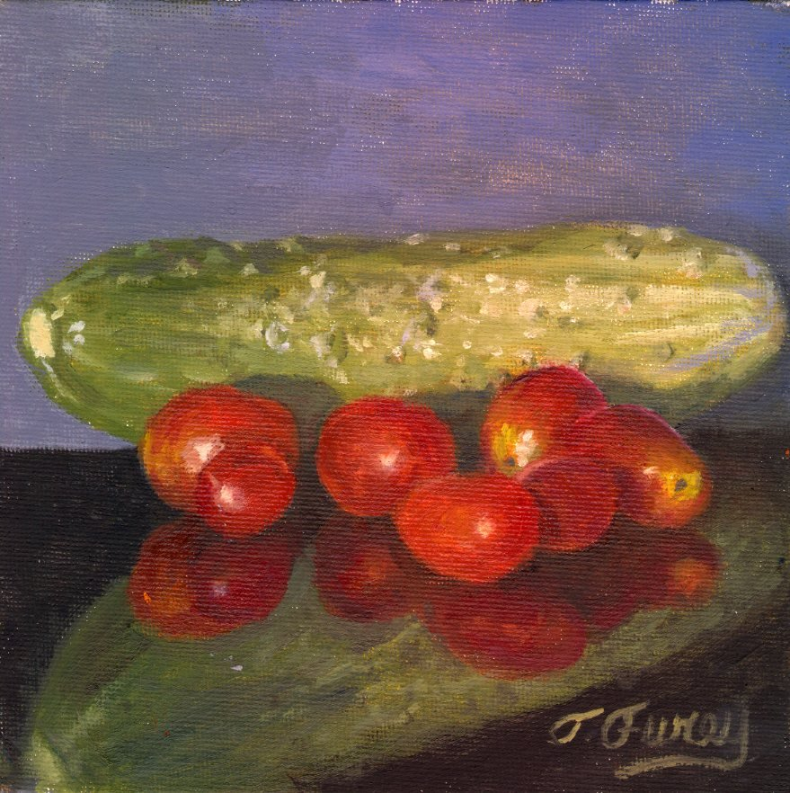 "Cucumber and Cherry Tomatoes, Alla Prima Oil Painting on Board, 6"" x 6""."
