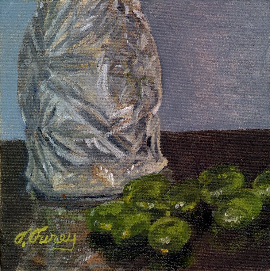 "CUT GLASS AND GREEN BEAD, Alla Prima Oil Painting on Panel, 6"" x 6""."