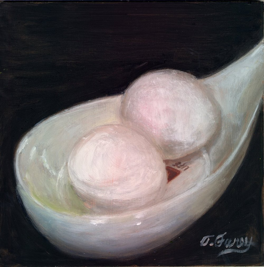 "White Egg in Spoon Holder, Alla Prima Oil Painting on Board, 8"" x 8""."