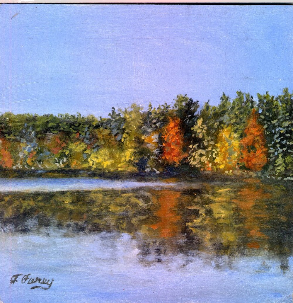 "Fall Lake, Alla Prima Oil Painting on Board, 8"" x 8""."